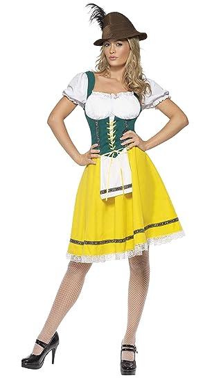 Smiffys Smiffys-41160M Disfraz de Fiesta de la Cerveza, Mujer, Vestido con Delantal Unido, Color Amarillo, M-EU Tamaño 40-42 41160M