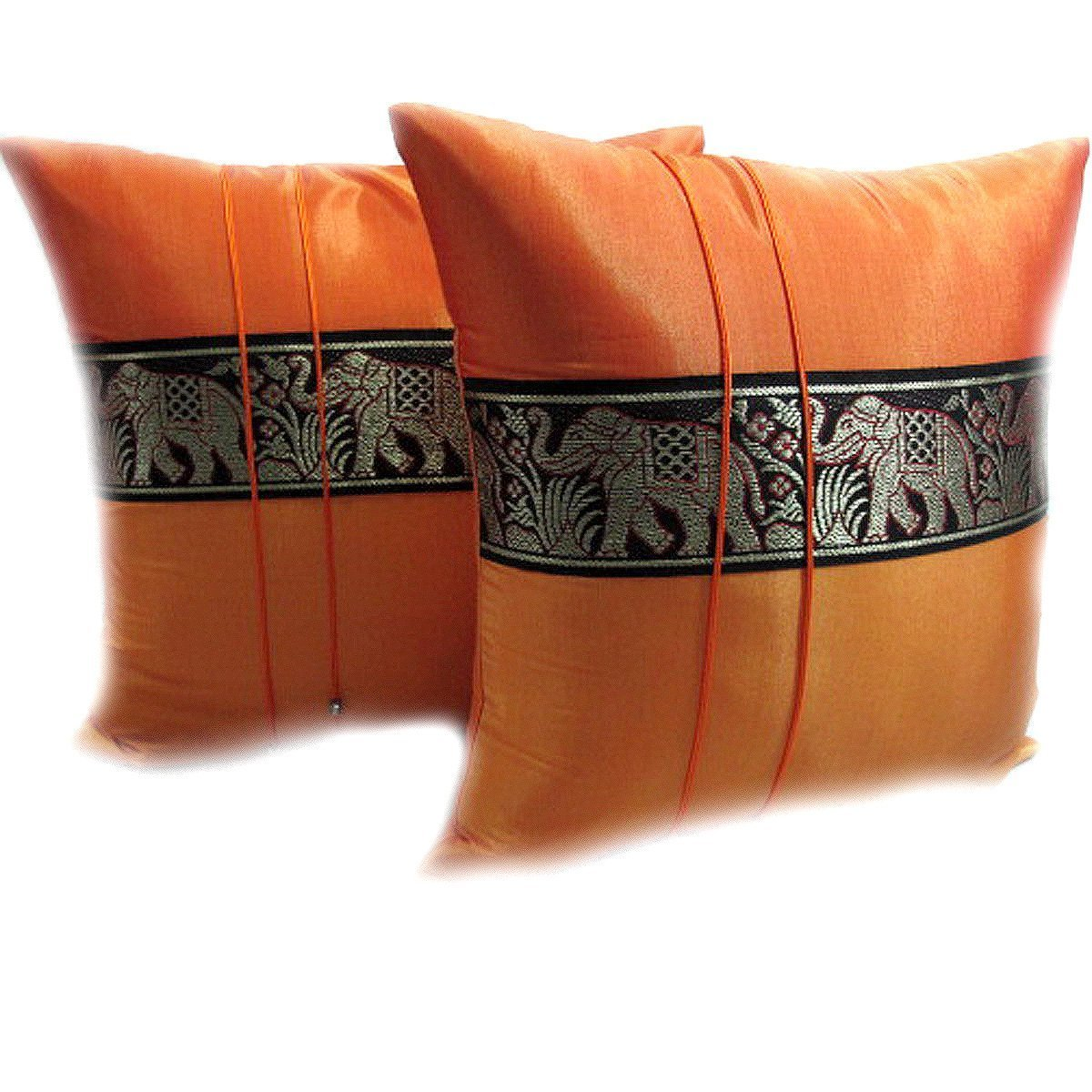 PAPAYA SHOP DOUBLE 2 BEAUTIFUL BIG ELEPHANT THROW CUSHION COVER/PILLOW CASE HANDMADE BY THAI SILK AND COTTON FOR DECORATIVE SOFA, CAR AND LIVING ROOM SIZE 16 X 16 INCHES (ORANGE AND ORANGE)