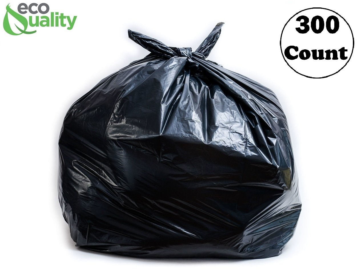 Strong Trash Bags, Wastebasket Receptacle Can Liner, Large 40-45 Gallon by EcoQuality, 300 Count, 40 x 38, Garbage Bags, Black, for Kitchen, Household, Industrial, Multi Purpose, Office, Backyard