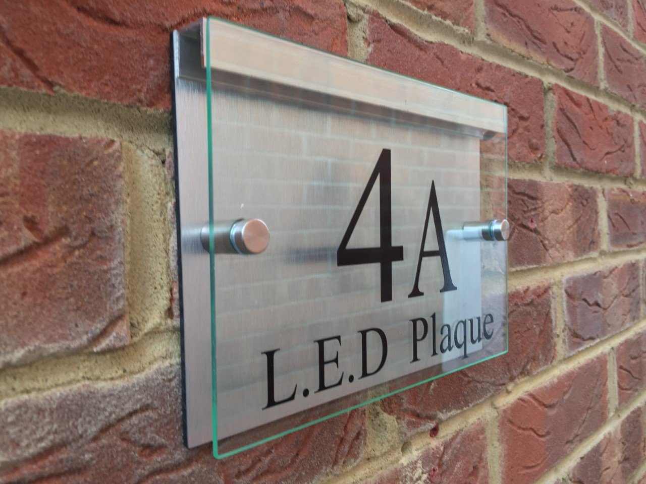 LED compatable house sign glass effect acrylic / aluminium Signs4home