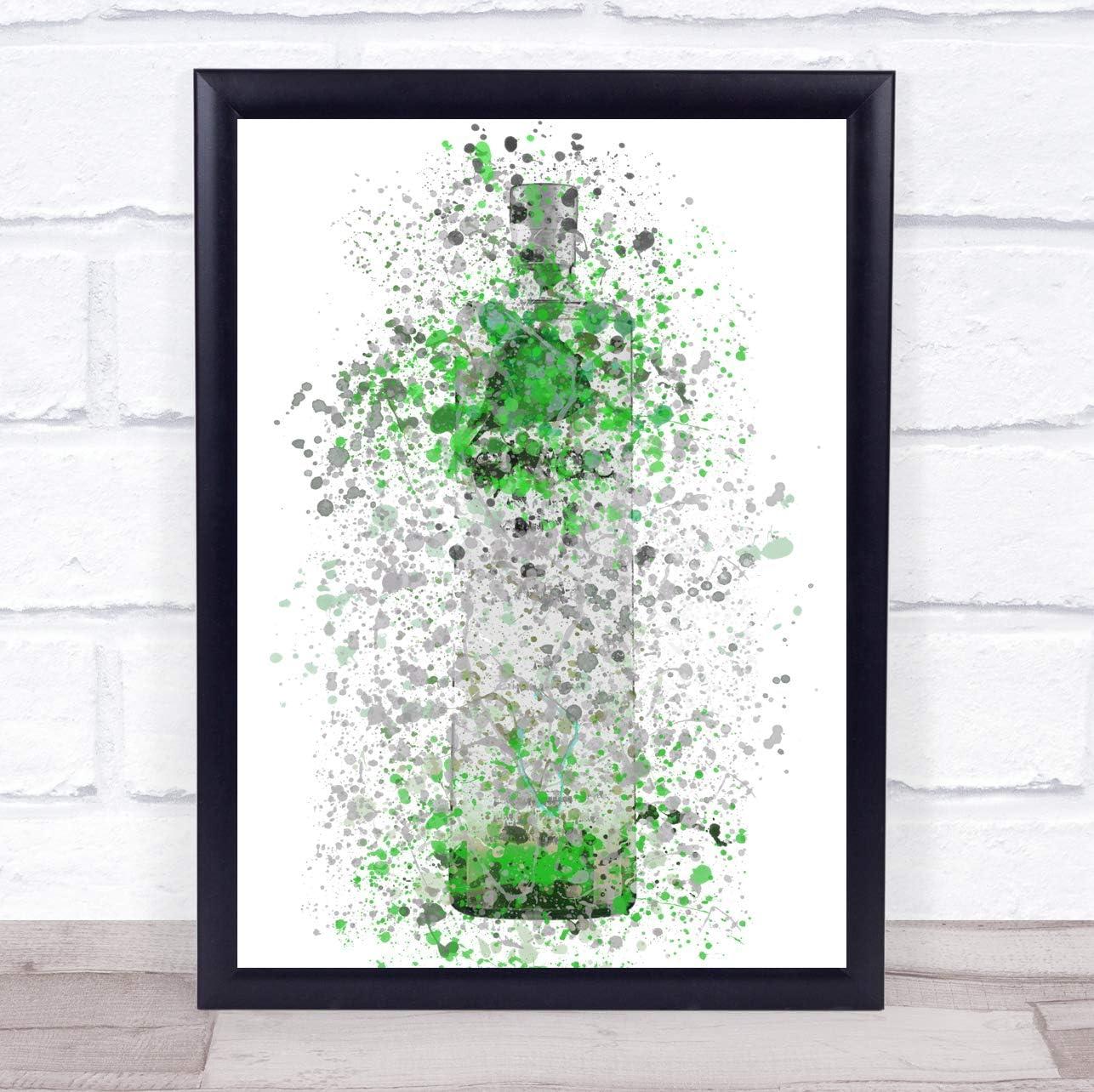Watercolor Splatter French Frost Vodka Bottle Apple Green Wall Art Print