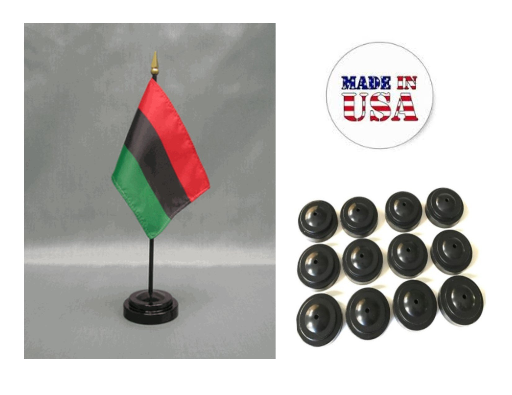 Made in the USA!! Box of 12 African American 4''x6'' Miniature Desk & Table Flags Includes 12 Flag Stands & 12 Afro American Small Mini Stick Flags
