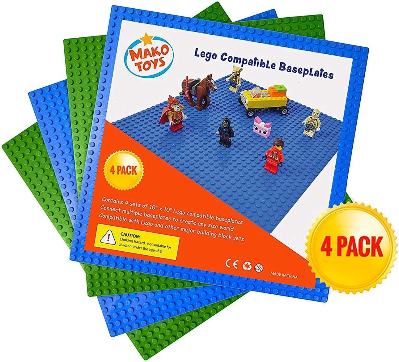 """Lego Compatible Baseplates (4 pieces of 10"""" x 10"""") in Blue and Green, Works with Major Brick Building Sets, Wonderful Plate for Kids"""
