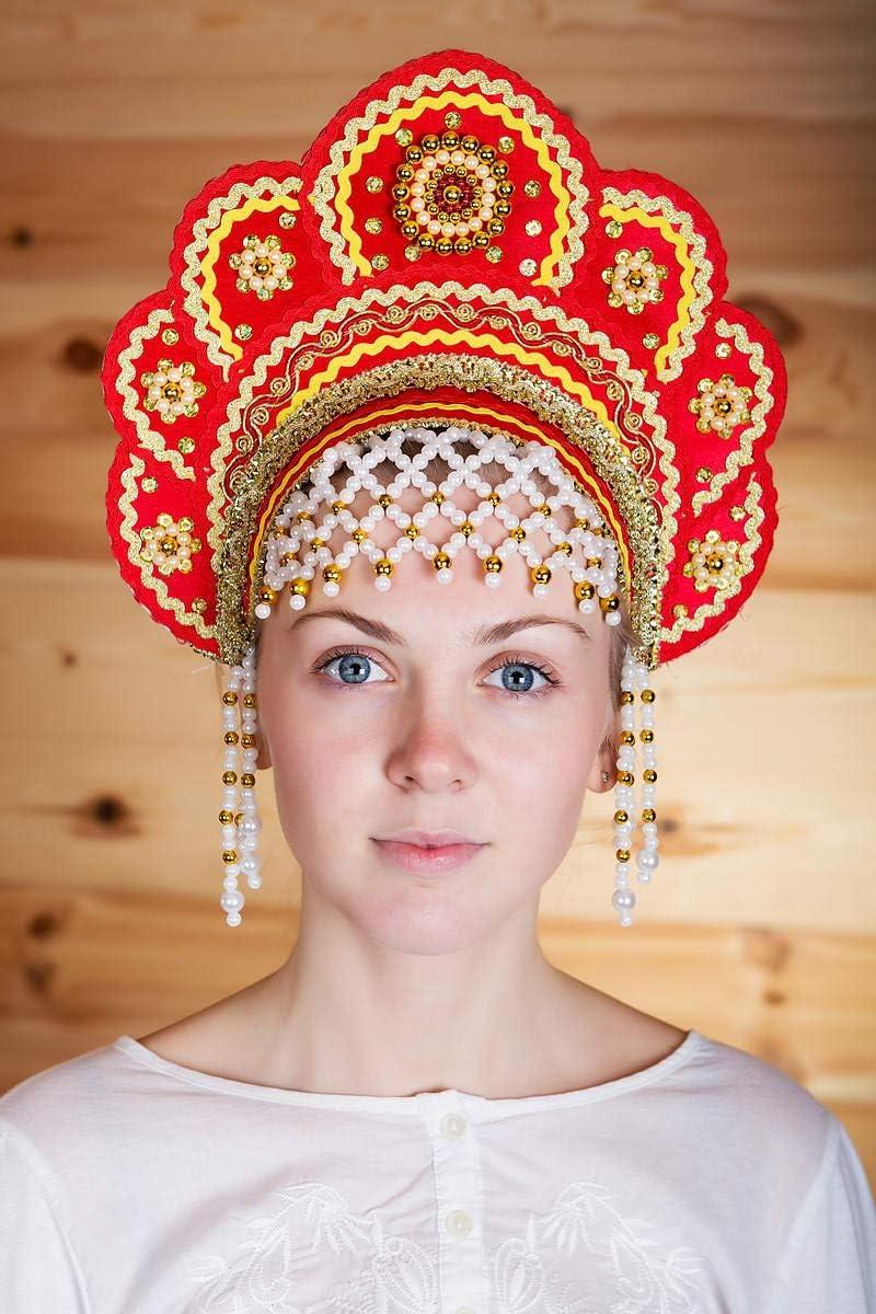 russouvenir Kokoschnik russischer Kopfschmuck Helena Rot