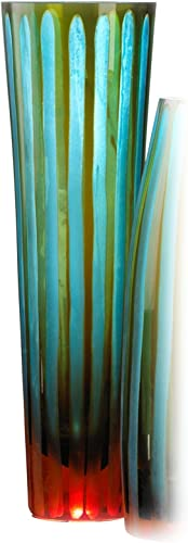Cyan lighting 01128 11.50 Inch Large Chiseled Striped Vase, Blue Orange Finish