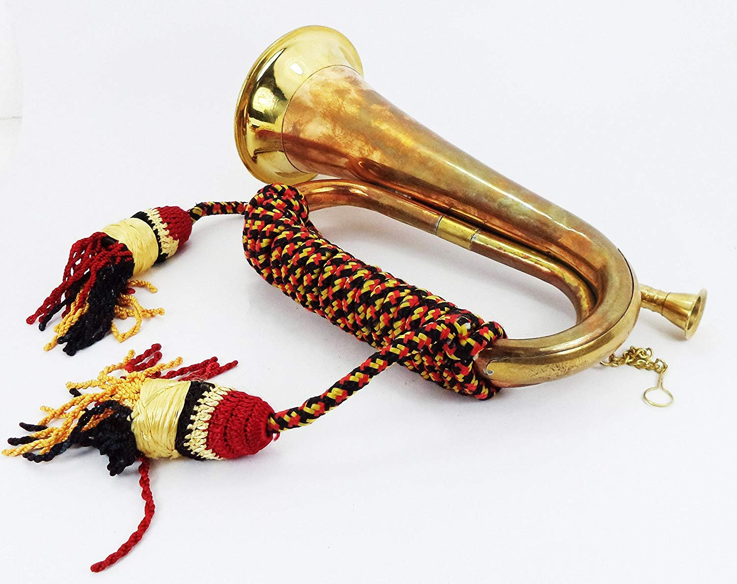Annafi Solid Brass And Copper Blowing Bugle Attack War Command Signal Horn US Military Cavalry Horn Classic Style Brass Boy Scout Retro Bugle Horn