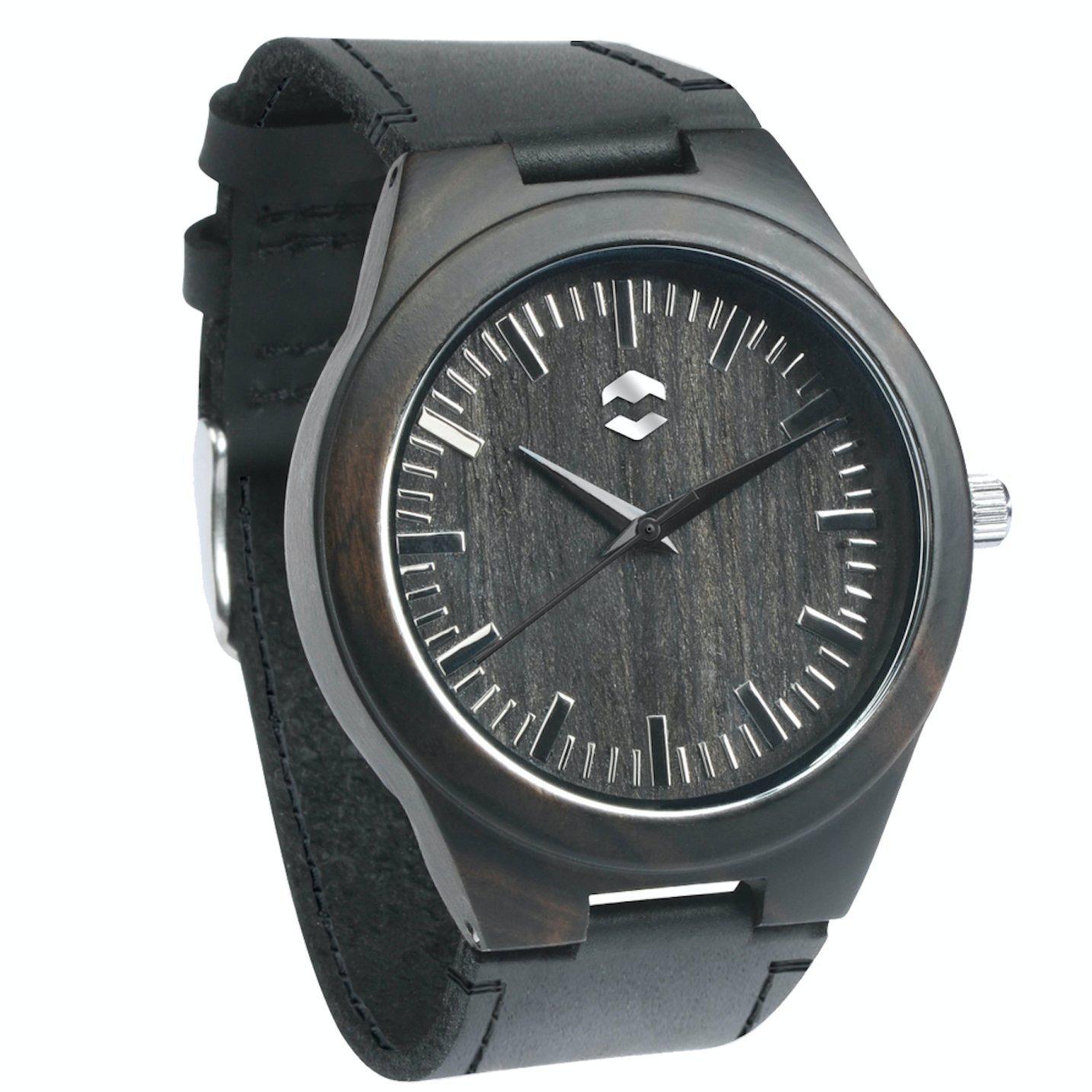 Quantum MMNT Men's Dark Wooden Watch w/Genuine Brown Leather Strap and Japanese Analog Miyota Quartz Movement