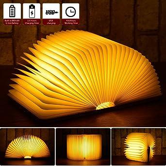 Lampe Livre Pliante USB Rechargeable Led Chenci Livre Lampe en Bois Magnétique, Lampe Décorative LED, 880 mAh,4 6heures,Light Book Pour Decoration