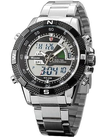 shark mens digital analog lcd chronograph date day army sport shark mens digital analog lcd chronograph date day army sport quartz watch box sh047