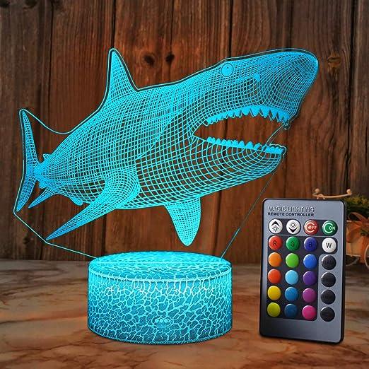 XEUYUTR Shark LED Lámpara de luz nocturna Habitación ...