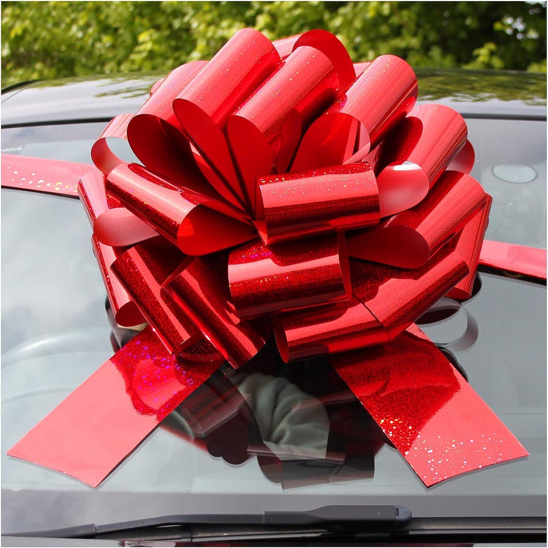 Jaffa Imports - Lazo gigante para coche (16 pulgadas) + 6 metros de cinta para coches, bicicletas, regalos de cumpleaños y Navidad, color rojo holográfico