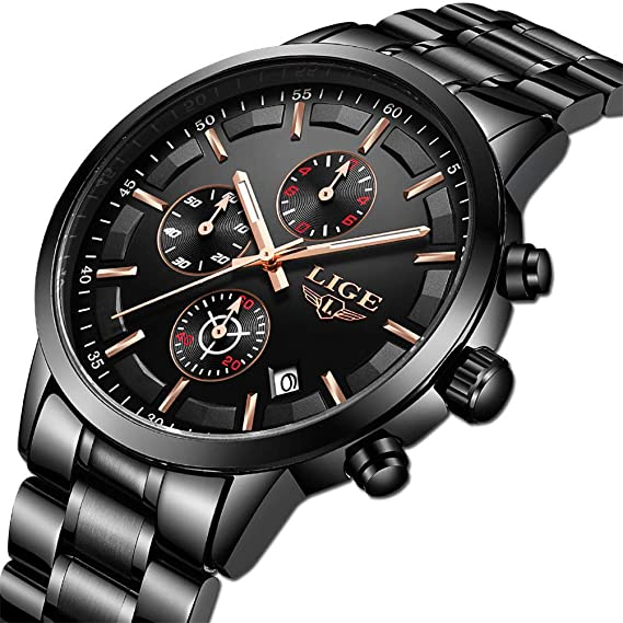 LIGE Relojes Hombre Acero Inoxidable Impermeable Deportes Analógico de Cuarzo Hombres Reloj Negocios Cronógrafo Negro Relojes Hombre Vestir