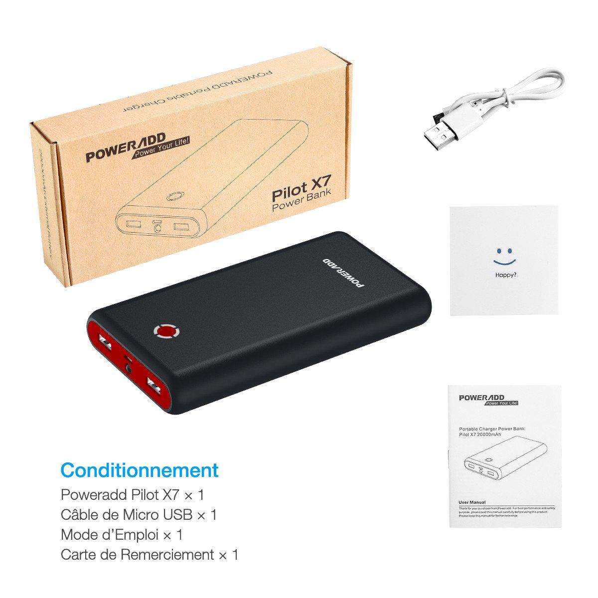 POWERADD Pilot X7 Chargeur Portable 20000mAh avec Deux Port de Sortie (3.1A+3.1A) pour iPhone, iPad, Samsung, Huawei, d'Autres Smartphones - Noir Rouge