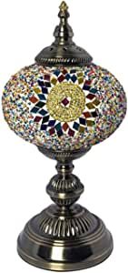Turkish Moroccan Romantic Table Lamp Handmade Mosaic Glass Desk Lights Tiffany Style Bedside Decorative Accent Night Light for Bedroom Living Room Cafe Gift Lights, 110-240V, 5W,A