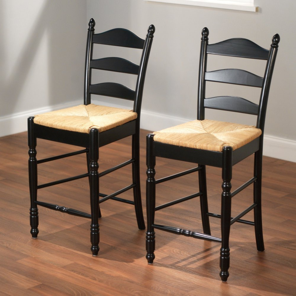 Amazon.com Target Marketing Systems 24-Inch Set of 2 Ladder Back Stools with Rush Seats and Turned Legs Set of 2 Black Kitchen u0026 Dining & Amazon.com: Target Marketing Systems 24-Inch Set of 2 Ladder Back ... islam-shia.org