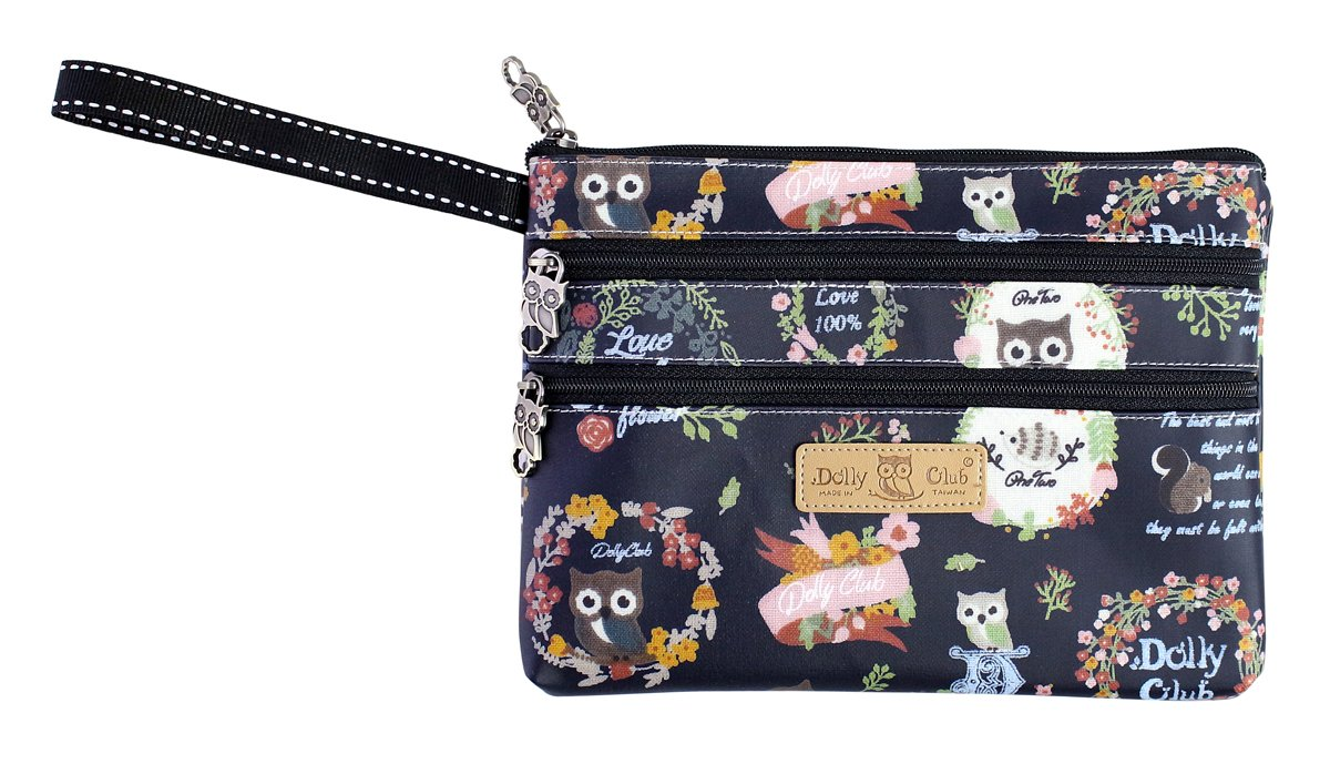 Cute & Functional Multi-Compartment Pouch Bag Clutch with Wristlet Strap, Owl Family, Navy Blue