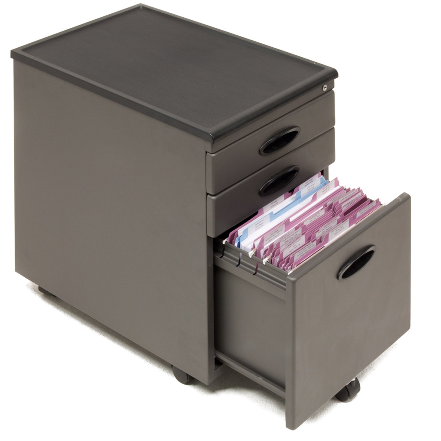 Amazon.com: Studio RTA 3 Drawer Mobile Metal File Cabinet In Pewter And  Black: Kitchen U0026 Dining