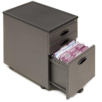 Studio RTA 3 Drawer Mobile Metal File Cabinet In Pewter And Black