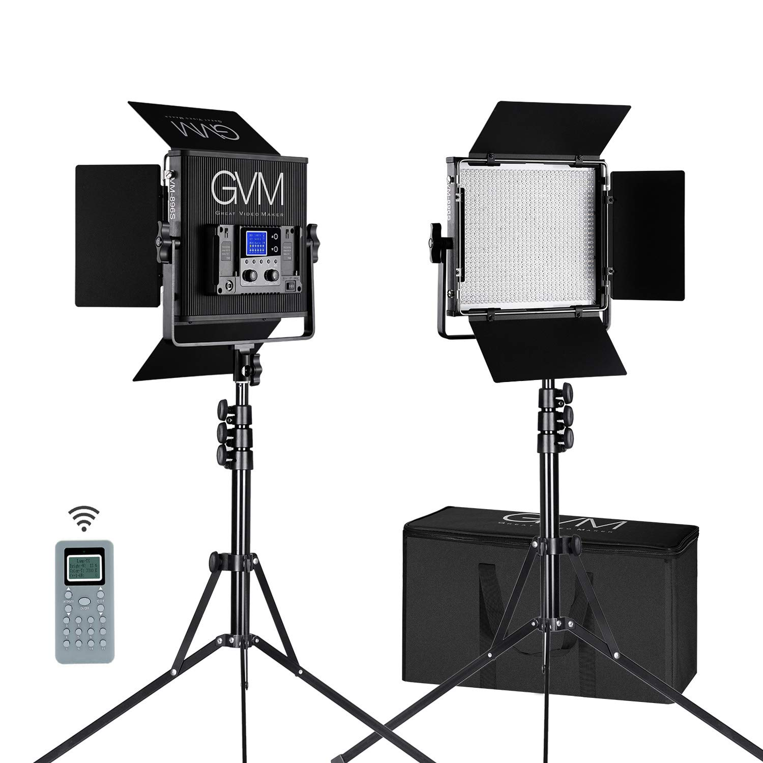 GVM 2 Packs 896 LED Video Light and Stand Lighting Kit Dimmable Bi-Color LED Video Light (2300K-6800K, CRI 97+) Aluminum Alloy with Wireless Controller for Studio, YouTube Video Photography