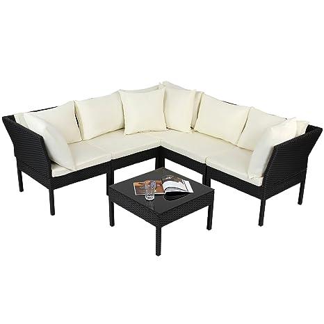 Conjunto Muebles de Jardín de Ratán - 188,5/188/68,5 cm, 4 Piezas, 8 Almohadas y 5 Cojínes, en Negro, Gris y Marrón - Set de Sofás