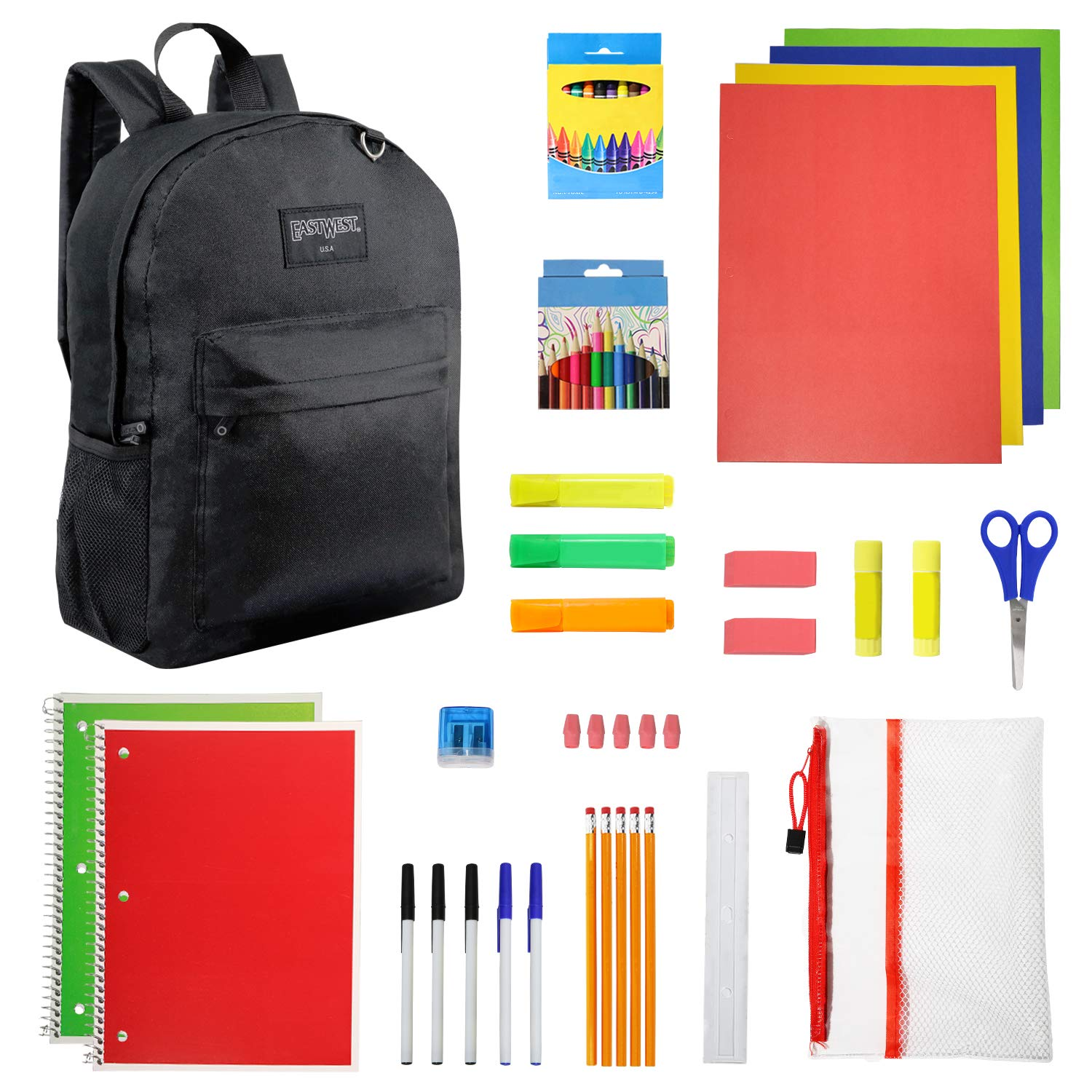 17 Inch Black Backpack with 52 Piece School Supply Kit - School Supply Bundle Pack for Boys and Girls