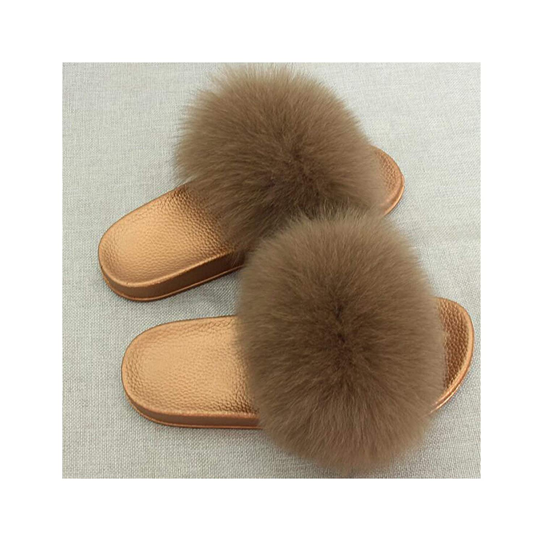 3 Zalin Women's Summer Genuine Fox Fur Slippers PVC Flat Indoor Non-Slip Slippers Furry Slippers