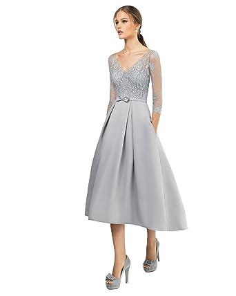 Kelaixiang Womens Satin Prom Dress Long 3/4 Sleeves Evening Dresses at Amazon Womens Clothing store: