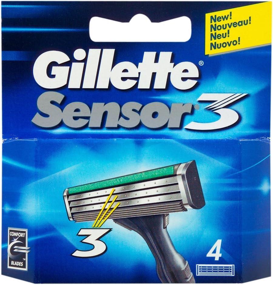 3 4 Paquete Gillette Sensor cartuchos de cuchillas de afeitar repuesto