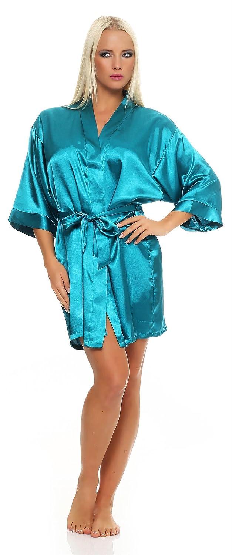 Damen Morgenmantel kurzer Kimono aus Satin-Optik in 23 Farben Bademantel Nachtwäsche Nachtmantel Seidenrobe Gr. S 2XL