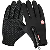 Winter Gloves, TraAcc Touch Screen Gloves Black Gel Men & Women Gloves for Cycling, Running, Climbing and Winter Outdoor Sports- Windproof and Adjustable Size