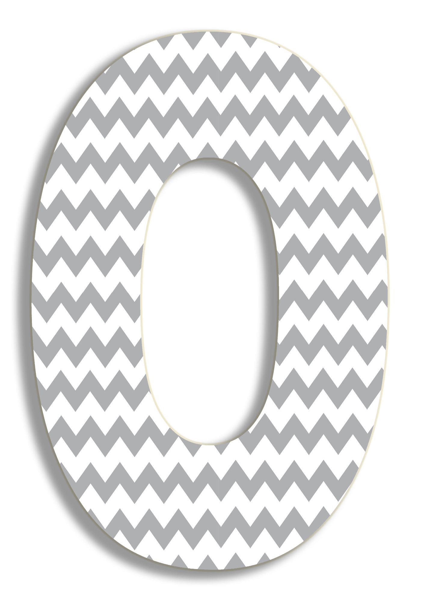 The Stupell Home Decor Collection Gray Chevron Hanging Wall Initial, 18-Inch, O by The Stupell Home Decor Collection