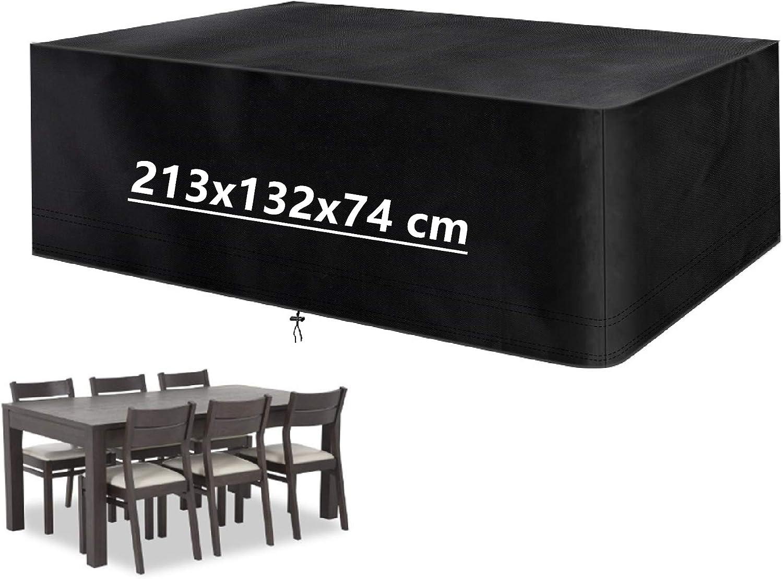Mutsitaz Funda para Muebles de Jardín Impermeable 420D Oxford Muebles de Jardin Cubierta (213 x 132 x 74 cm)