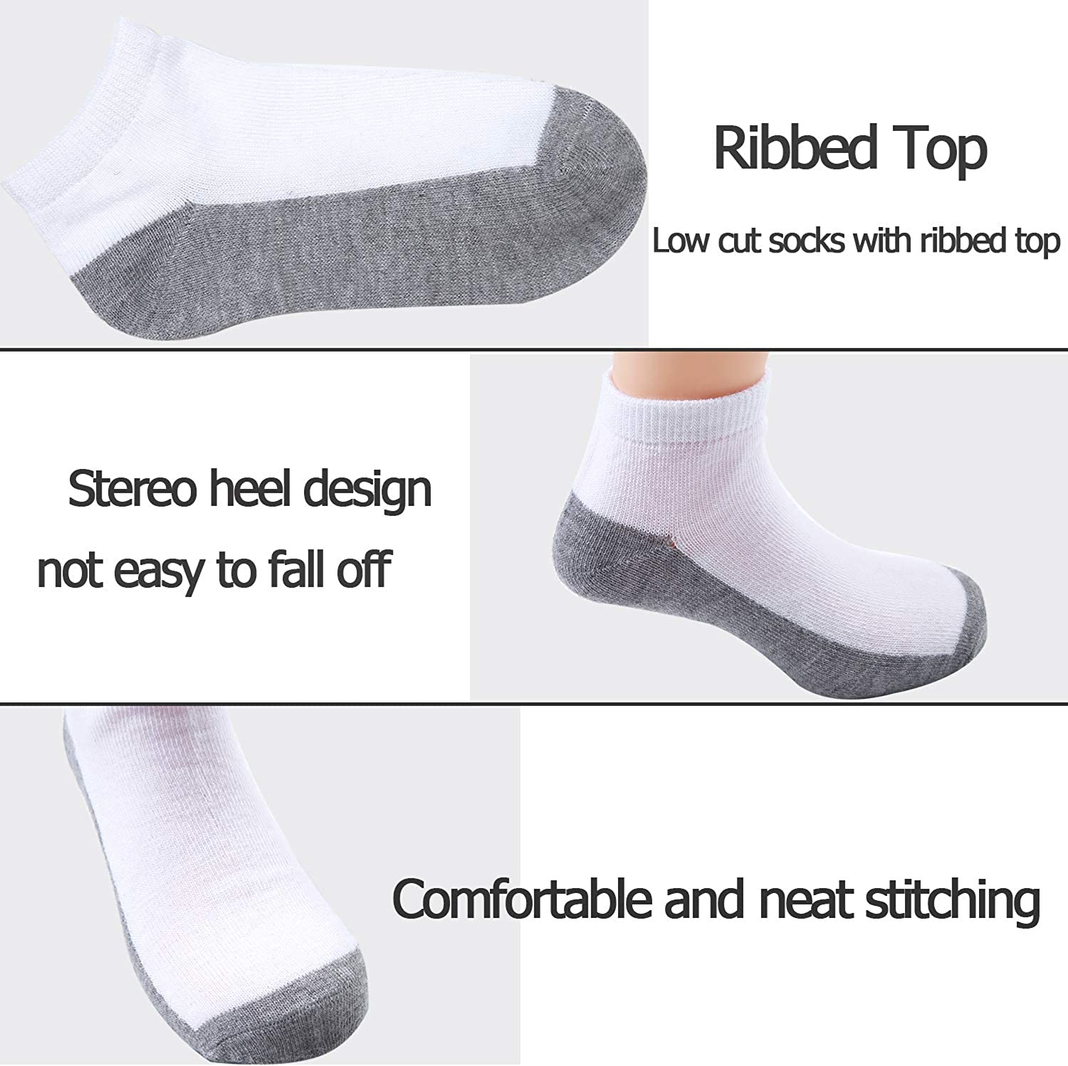Coobey 15 Pack Kids Half Cushion Low Cut Athletic Ankle Socks Boys Girls Ankle Socks