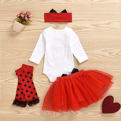 Sayla Kleinkind Baby M/ädchen Kleidung Set Valentines Day Langarm Oansatz Strampler Overall Faltenrock Leggings Haarband Outfit Set 4 St/ücke