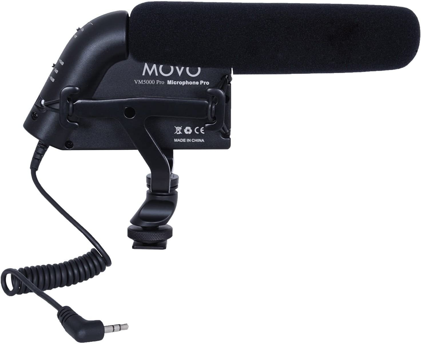 Aluminum Body Movo VXR5000-PRO HD Condenser Prosumer Video Microphone for DSLR Video Cameras with High Pass Filter and Audio Level Control