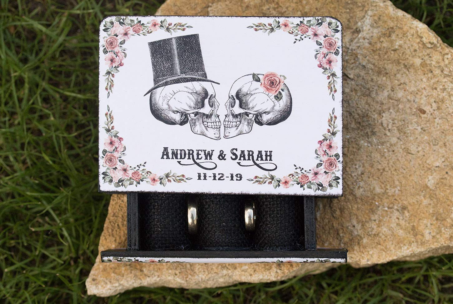 Skulls Ring box Halloween wedding box Black Personalized Wedding box Gothic Ring bearer box Day of the Dead Ring Box Engagement ring box