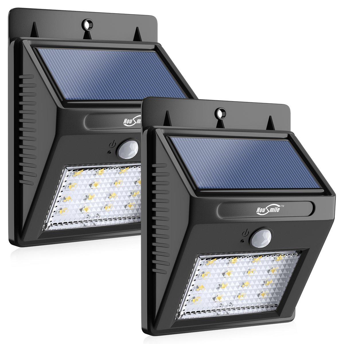 Solar Lights, Housmile 16 LED Super Bright Garden Lights Motion Sensor Outdoor Wireless Waterproof Security Lights for Front Door, Patio, Deck, Yard, Garden, 2 Pack