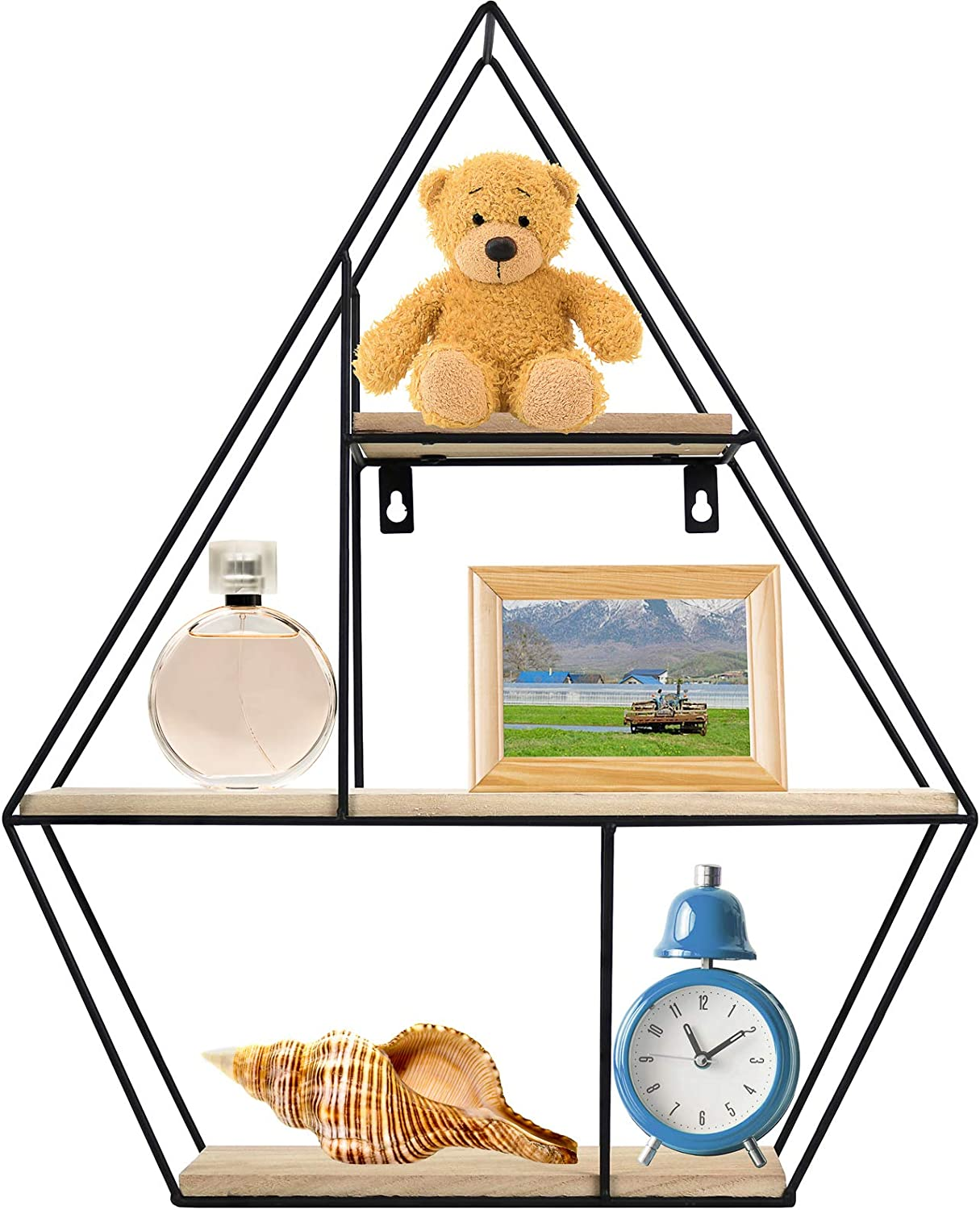 Greenco Geometric Diamond Gem Shaped Mounted Floating, Home Decor, Metal Wire and Rustic Wood Wall Storage Shelves for Bedroom, Living Room, Bathroom, Kitchen and Office, Natrual