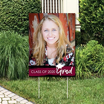 Amazon Com Big Dot Of Happiness Custom Maroon Grad Best Is Yet To Come Photo Yard Sign Burgundy 2020 Graduation Party Decorations Health Personal Care