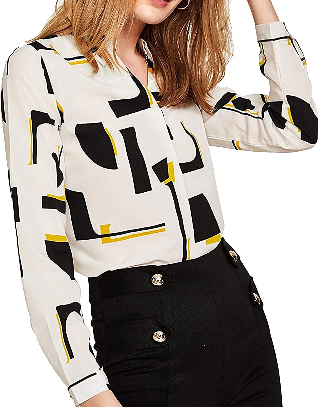 Milumia Women's Geometric Print Shirt Long Sleeve Chiffon Work Blouse Top