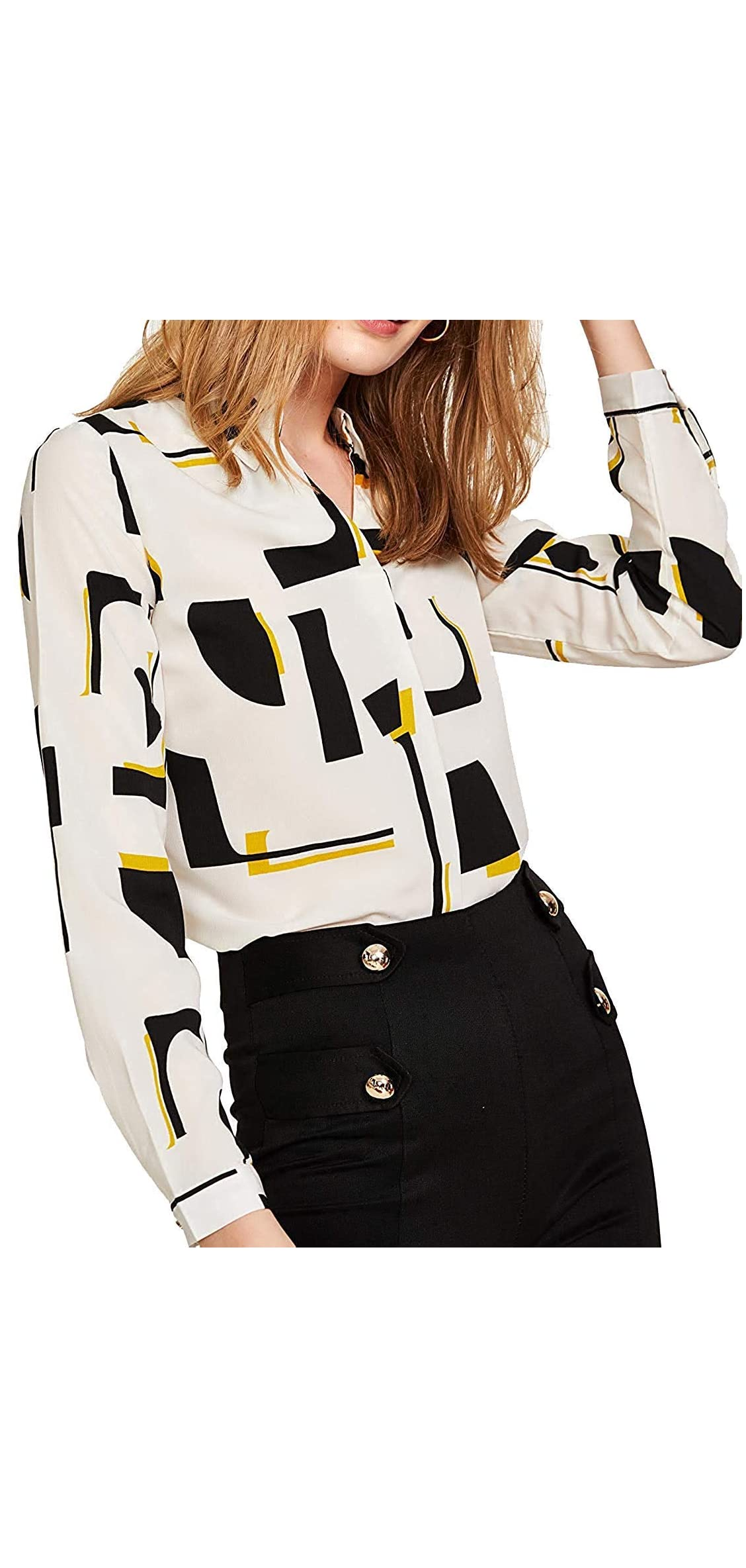 Women's Elegant Button Workwear Shirt Stand Collar Long