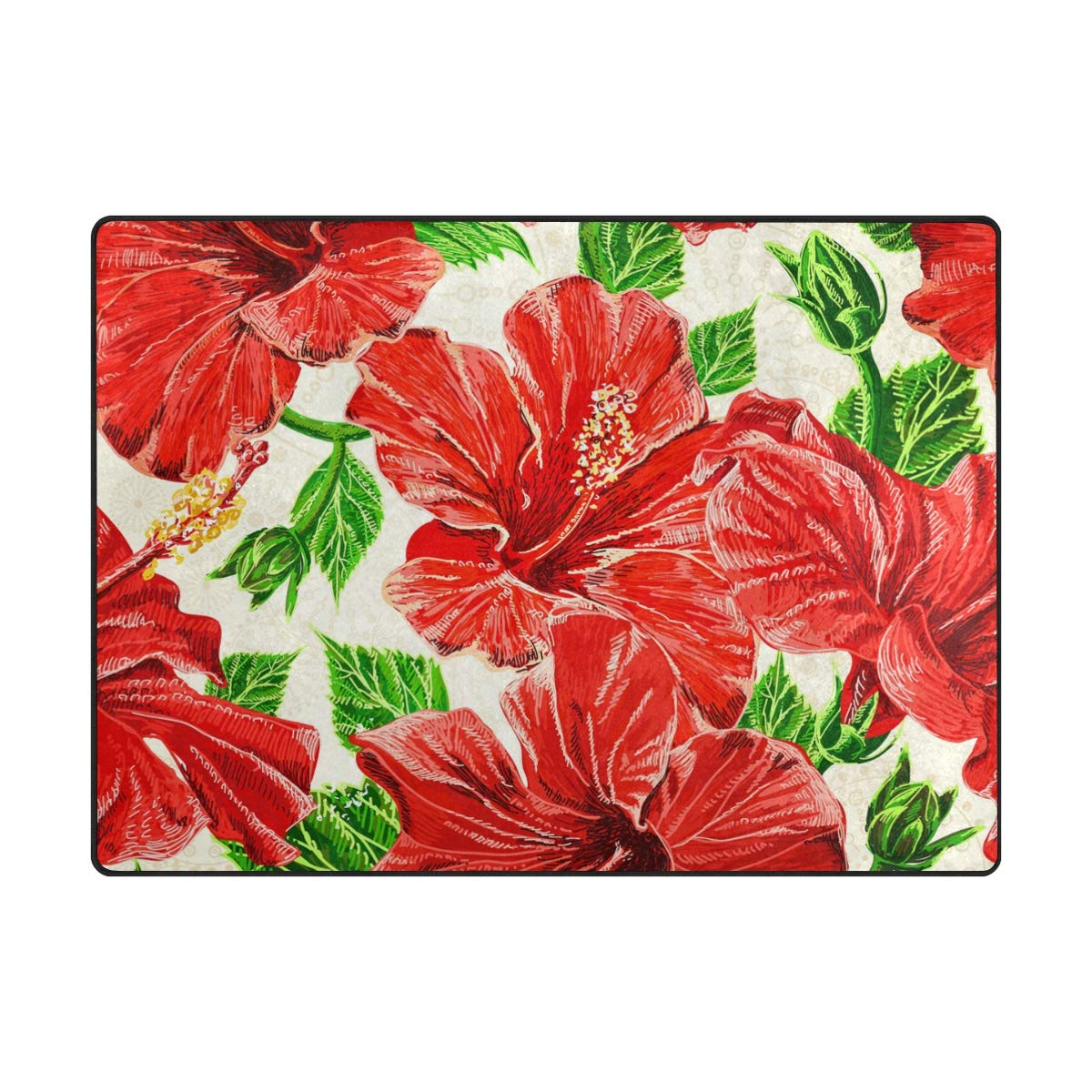 Ahomy Area Teppich, Hawaii-Blumenmuster, Aquarell, Multi, 80 x 58 inch