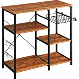 Mr IRONSTONE Kitchen Baker's Rack Vintage Utility Storage Shelf Microwave Stand 3-Tier+3-Tier Table for Spice Rack…