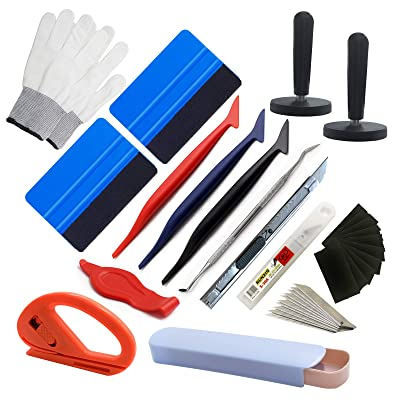 SETLUX 32 Pcs Vinyl Car Wrapping Tint Vehicle Window Glass Protective Film Installing Tool Includes Felt Squeegee Stainless Steel Knife, Spare Felts, Working Gloves,Vinyl Magnets: Automotive
