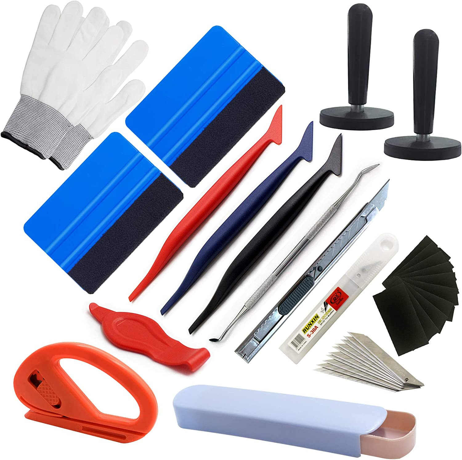 Black Conqueror Squeegee Snitty Safety Vinyl Cutter SETLUX 28 Pcs Vinyl Car Wrapping Tint Vehicle Window Glass Protective Film Installing Tool Includes Rubber Squeegee with Handle Felt Squeegees