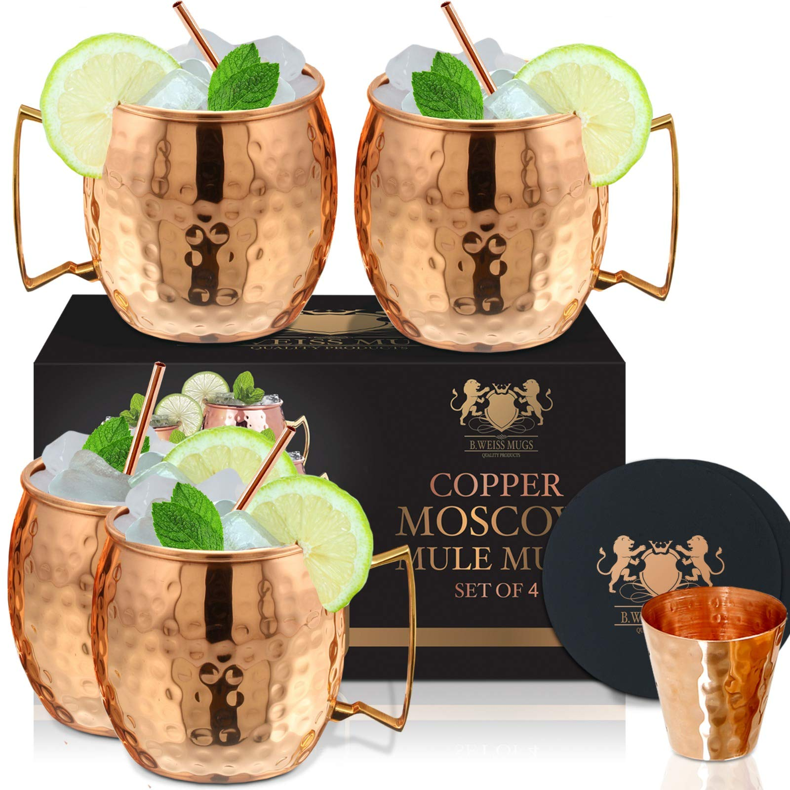Moscow Mule Copper Mugs Set Of 4 By B.WEISS 100% Pure Copper +Bonus: 4 copper straws+4 coasters 1 shot mugHandmade Hammered Copper Cups by B. WEISS