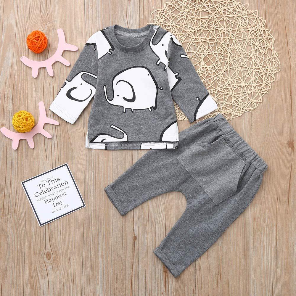 a96f0a2b44622 Amazon.com  💗 Orcbee 💗 Newborn Baby Boys Girls Elephant Print T-Shirt  Tops+Pants Set Casaul Clothes  Clothing