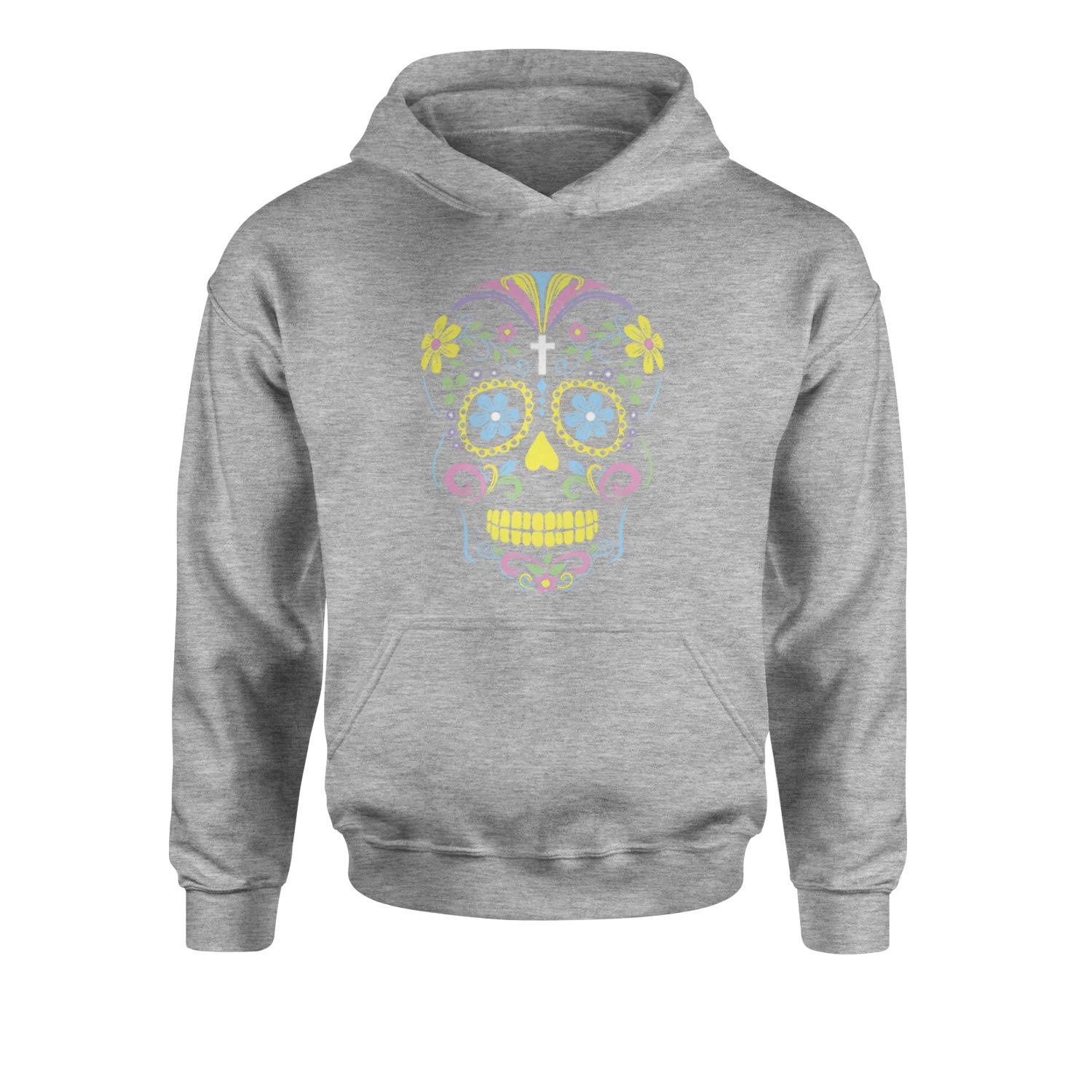 Expression Tees Neon Colors Sugar Skull Youth-Sized Hoodie