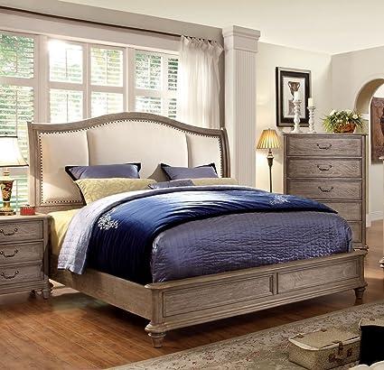 Amazon.com: 247SHOPATHOME IDF 7612CK Panel Bed California King Oak