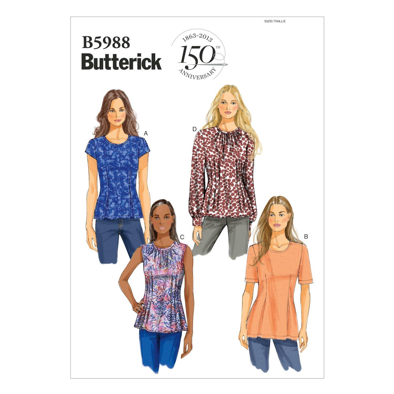 Butterick Patterns 5988 B5 - Patrones de costura de camisetas para ...